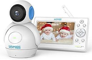 """HOMIEE Baby Monitor Video da 5"""" HD Schermo a Colori,Supporta Fino a 4 Telecamere, 360 Visione, Connessione a 300m, Audio..."""
