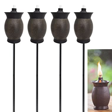 TIKI 3-in-1 (2 Pack) Torches 8 Inch Outdoor Table Lamp, 50 Inch Torch for Garden and Patio, Or 64 Inch Torch for Yard, Post Light Decor