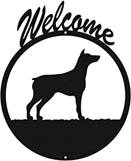 SWEN Products Doberman Pinscher Black Metal Welcome Sign ~New~