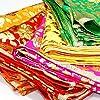 Vibgyor Product Vidhi Enterprises Net Golden Print and Golden Lace Mata Rani Chunri (Multicolour, 13x 9 Inch) -Set of 6 Size #2