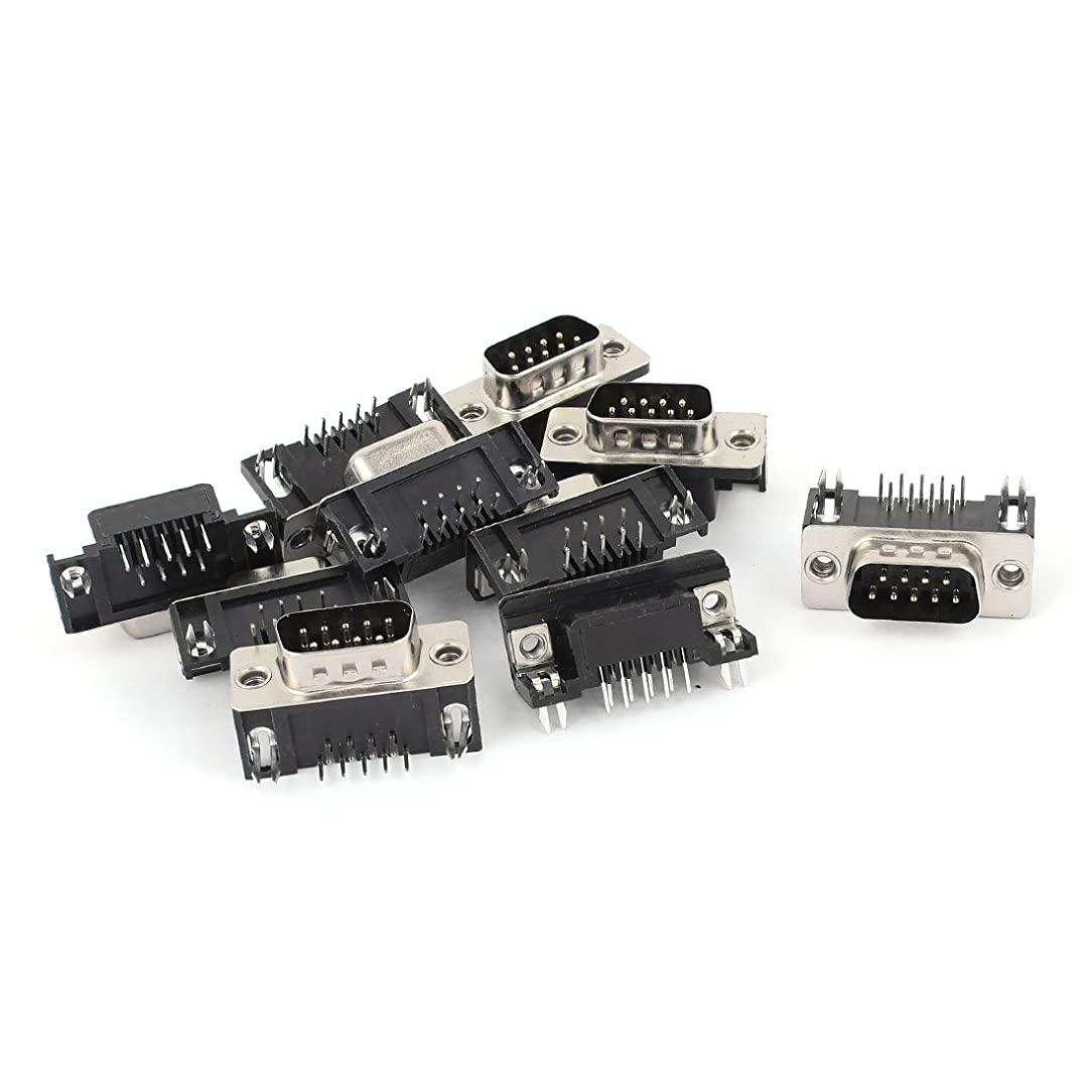 uxcell 10 Pcs RS232 Serial DB9 DB-9 9-Pin Male Connector Jack Socket