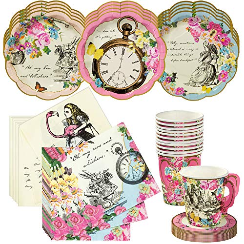 Talking Tables - Set da tè Alice nel Paese delle Meraviglie, set di tazze da tè e piattini, piatti e tovaglioli, perfetto per matrimoni, compleanni, feste di nozze e feste di tè