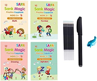 Reusable Magic Handwriting Copybook for kids perfect Tracing Practice kit Preschool Calligraphy Book Set included Easy Gri...