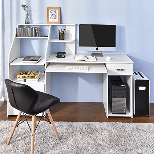 Merax Computer Desk with Drawer Computer Laptop Study Desk Home Office Desk (White)