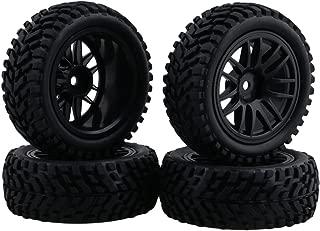 Neumáticos de neumáticos negros de goma del borde de la rueda de 1:10 para el coche del coche de la desviación del coche de carreras en línea Paquete de 4