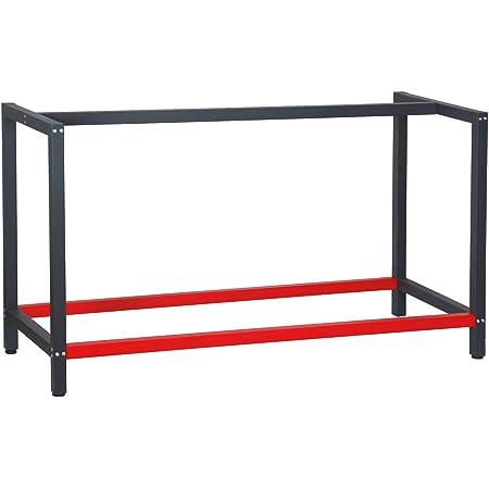 Bastidor para banco de trabajo 150x57x81cm Acero Antracita-rojo Armazón mesa taller Banco taller