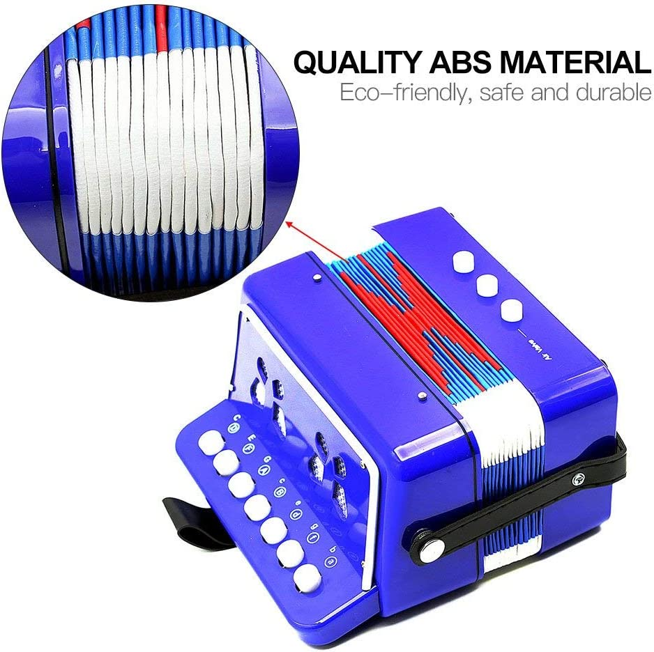 JOYSAE 7 Keys 2 Bass Accordion Kids Accordion Toy Solo Ensemble Instrument Musical Educational Instrument for Early Childhood Teaching Blue