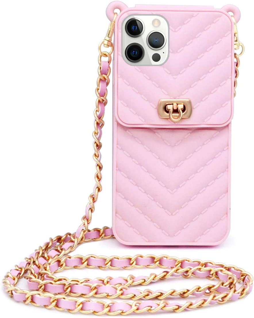 LUVI Compatible with iPhone 12 Pro Max Wallet Case with Crossbody Strap Lanyard Neck Strap Credit Card Holder with Purse Handbag Shoulder Strap Silicone Rubber Soft Protection Cover Pink