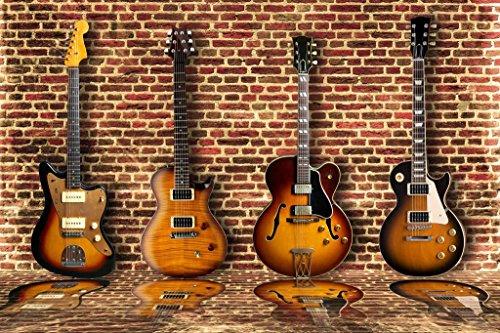 Four Electric Guitars Arranged on Brick Wall Photo Photograph Cool Wall Decor Art Print Poster 36x24