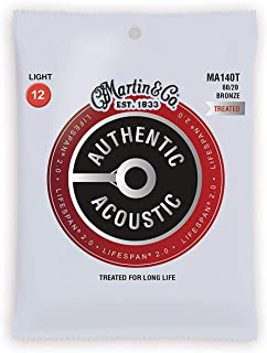 Martin Guitar Authentic Acoustic Lifespan 2.0 MA140T, 80/20 Bronze, Treated Light-Gauge Acoustic Strings