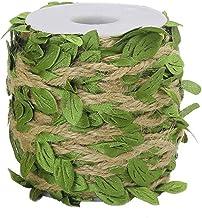 Fita de folha de estopa, Ariskey 164 pés/50 metros corda de juta natural com folhas verdes para embalagem de casamento e c...