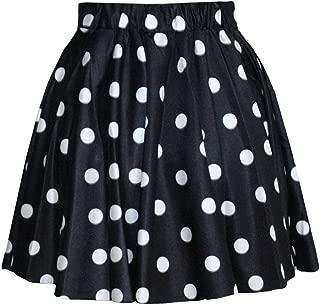 SAYM Women Girls Stretchy Polka Dot Flared Casual Mini Skirt