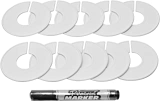 AMT SUPPLY LLC AMT Supply Clothing Rack Size Dividers, White Round Clothing Rack Dividers, Toddler Clothes Dividers, Blank Dividers with Marker Pen (20 Pieces)