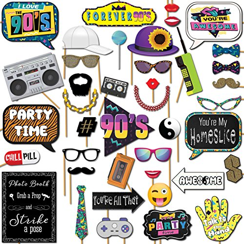 90s Throwback 1990s Party Theme Photo Booth Props 41 Pieces with Wooden Sticks and Strike a Pose Sign by Outside The…