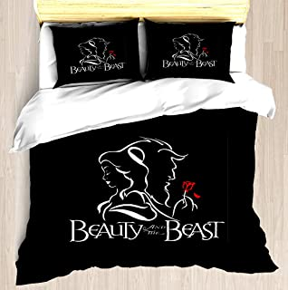 NTCBED Beauty and The Beast - Duvet Cover Set Soft Comforter Cover Pillowcase Bed Set Unique Printed Floral Pattern Design Duvet Covers Blanket Cover King/Cal King Size