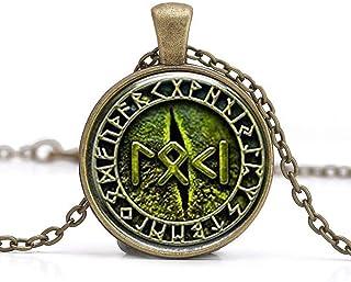 Snake Eye Loki Petite Geschreven in Rune met Rune Cirkel Hanger Ketting Glas Cabochon Ketting
