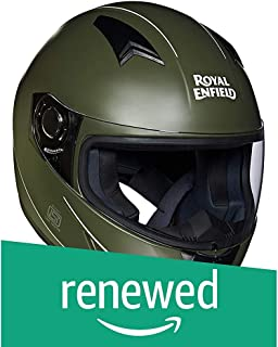 (Renewed) Royal Enfield Battle Green Full Face Helmet Size (XL)62 CM  (RRGHEI000046)