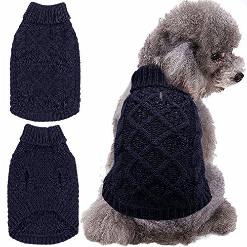 Mihachi Dog Sweater - Winter Coat Apparel Classic Cable Knit Clothes for Cold Winter,Beige,S