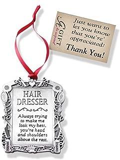 Super Hairdresser - Hair Stylist - Pewter Christmas Ornament - Thank You Gift - Ribbon Hanger - Beautician