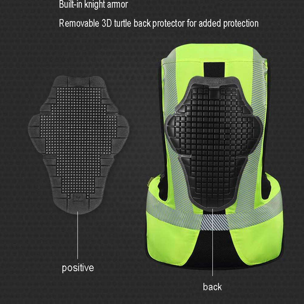 LSSLA Motorbike Airbag Protective Vest Motorcycle Motorbike Reflective Airbag Gilet Airbag Suitable for Motorcycles And All-Terrain Vehicles,Green,M
