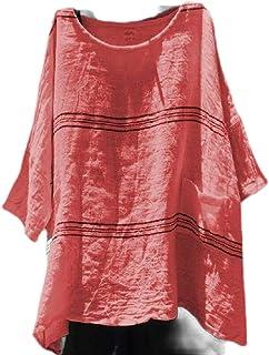 Tinyshine Women Blouse Plus Size Stripe Loose Fit Short Sleeve T-shirts