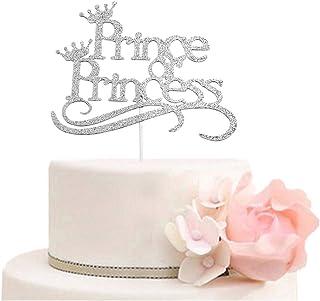 غطاء كعكة الأمير أو الأميرة - أغطية كعكة للكشف عن الجنس - ديكورات حفلات استقبال المولود للأولاد أو البنات فضي لامع