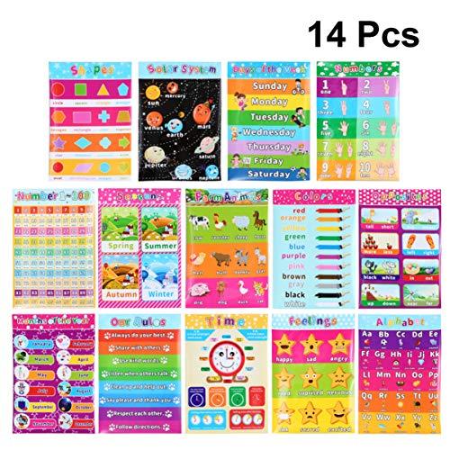 Supvox Bildposter für Lehrer, 14 Teile, für Kinder- und Kleinkinder – ABC Alphabet Formen, Farbe und mehr 16 x 11 Zoll (englischer Stil)