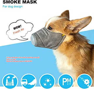 BYyushop Breathable Pet PM2.5 Filter Anti Smoke Fog Pollution Muzzle Dog Face Mouth Mask - Grey S