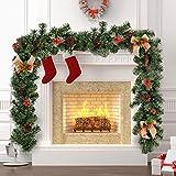 New_Soul 1.8 M Guirlandes Sapin Noël avec Baies Rouges Pommes De Pin et Bow, Guirlande pin Artificielle 150 Tete Déco Noël cheminées scalier Intérieur Extérieur