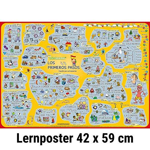 mindmemo Lernposter - Los primeros pasos - Spanisch für Einsteiger - Vokabeln lernen mit Bildern - geniale Lernhilfe - DinA2 PremiumEdition