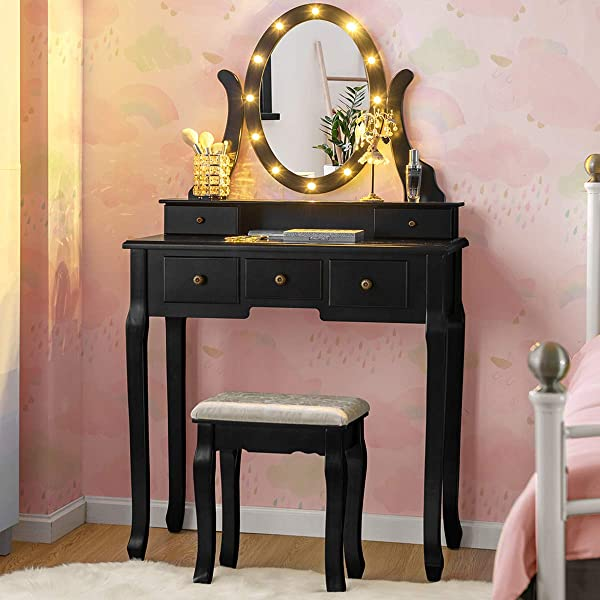 Giantex Vanity Set With 12 LED Lights Mirror And Cushioned Stool Dressing Table With 360 Rotating Mirror 5 Drawers Makeup Shelf Writing Desk Makeup Table With Bench Black