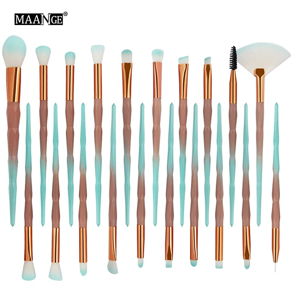 Veepola 20 Pcs Diamond Makeup Brush Set Professional Foundation Blending Blush Concealer Eye Face Liquid Powder Cream Cosmetics Brushes Kit (A)