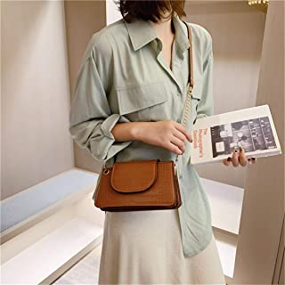 ZZZ Wild Women Bag Metal Ring Decoration Chain One Shoulder European And American Stone Pattern Messenger Small Square Bag fashion (Color : Khaki)
