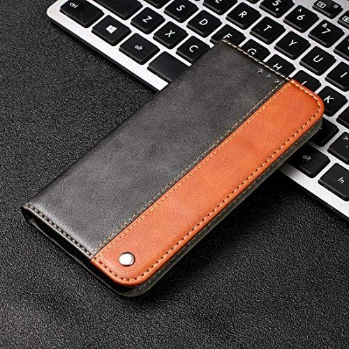 Liluyao Funda telefónica para Xiaomi Estuche de Cuero con Tiras horizontales de Color sólido for Xiaomi Redmi 6 Pro, con Soporte y Ranuras for Tarjetas, Cartera y cordón (Color : Brown)