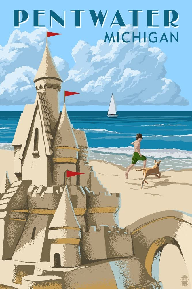 Pentwater Michigan - Sandcastle 36x54 Gallery Giclee Print Wa NEW before Max 69% OFF selling ☆