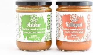 Malabar & Kolhapuri|Vegan Indian Cooking Sauces 2-Pack|No Added Sugar;Certified Vegan|