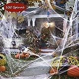 100g Halloween Dekoration Spinnennetz, 100g Dehnbaren Spinnennetzen und 100 Schwarzen Horrorspinnen Für Halloween Party Props - 2
