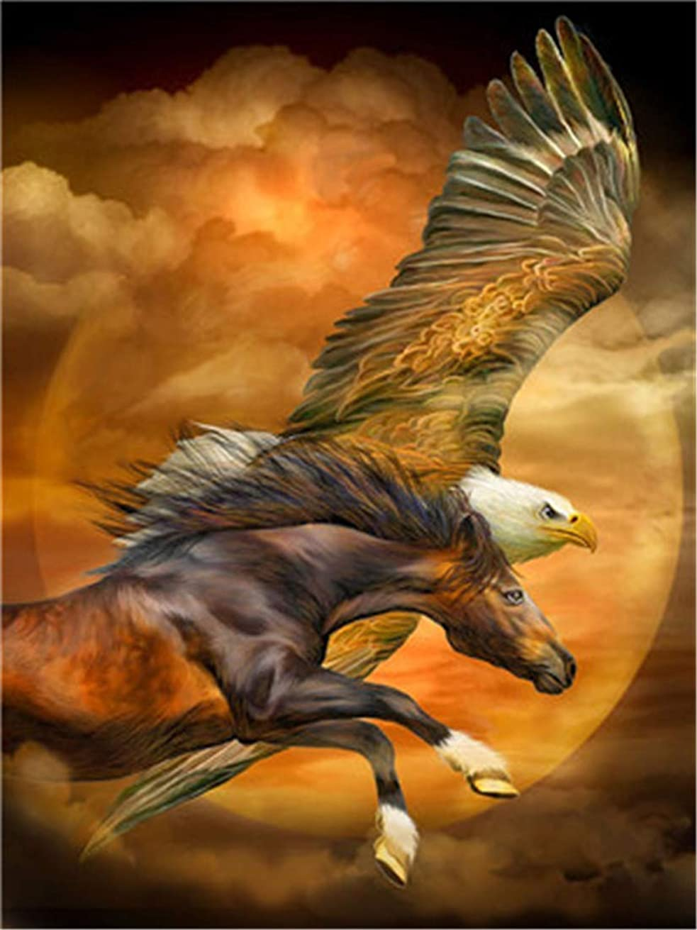 DIY Oil Painting Paint by Number Kit for Kids Adults Beginner 16x20 inch - Flying Eagle and Running Horse, Drawing with Brushes Christmas Decor Decorations Gifts (Without Frame)