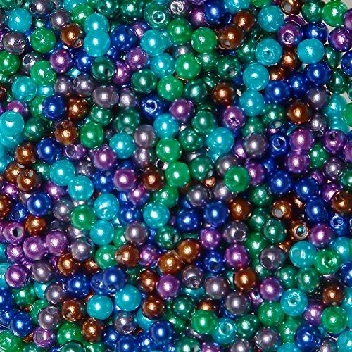 TOAOB 1050 Piezas ABS Perlas de Imitación de 5 mm Redondos Cuentas de Acrílico Sueltos de Colores Abalorios para DIY Pulseras Collares Bisutería y Fabricación de Joyas