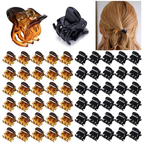 VEGCOO 60 Piezas Mini Clips de Pelo, Horquillas Plásticas Garras de Pelo Accesorios de Cabello para Mujeres Niñas