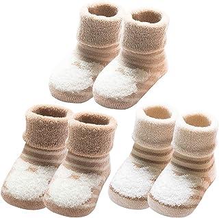 YUESEN, Calcetines Bebé 3 Pares de Calcetines Bebé Algodón organico Grueso Calcetines Térmicos Suaves Cómodos Niños Niñas Calcetines de Invierno