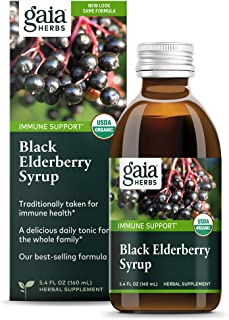 Gaia Herbs, Black Elderberry Syrup, Daily Immune Support with Antioxidants, Organic Sambucus Elderberry Supplement, 5.4 Fl...
