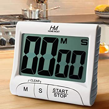 "HOME MOST 3"" Large Display Kitchen Timer - Digital Timer Magnetic Back Loud Alarm On A Rope- White Cooking Timers For Kitchen Teachers Students Games Kids Meetings - Sports Timer For Workouts Exercise"