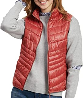 Womens Vest with Pockets, Zip Up Sleeveless Stand Collar Lightweight Quilted Padded Casual Fall Warm Jackets Outerwear (Color : Orange, Size : M)