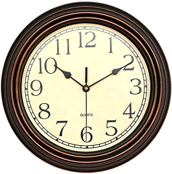 Foxtop 12 Inch Silent Non Ticking Round Classic Clock Retro Quartz Decorative Battery Operated Wall Clock For Living Room Kitchen Home Office Bronze