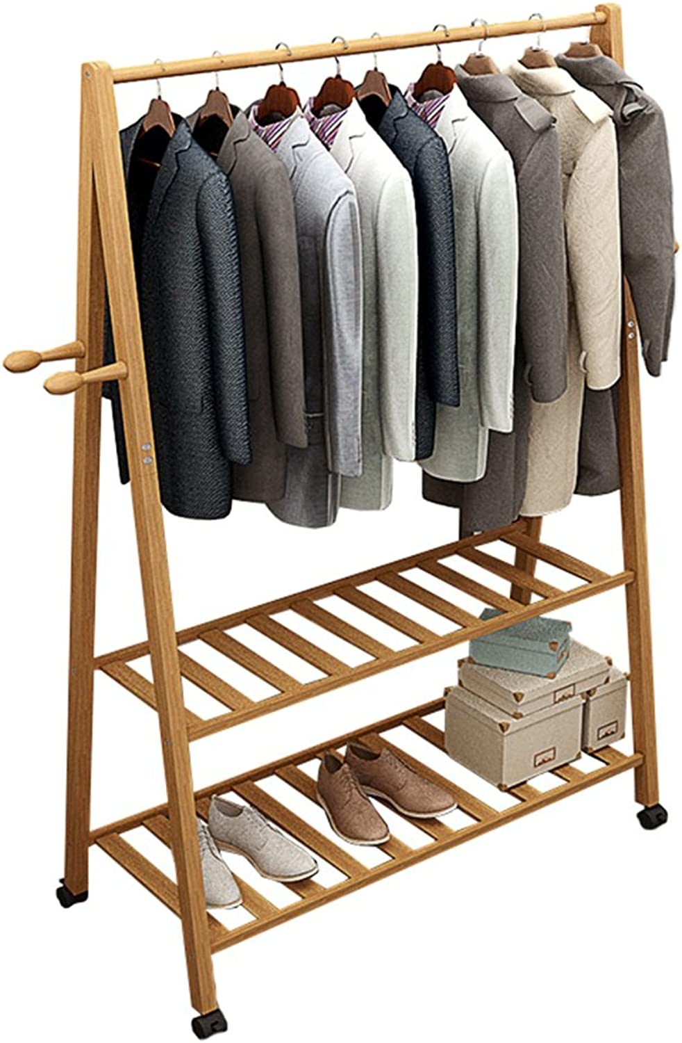 Multifuctional Bamboo Coat Rack with Caster Wheels 4 Coat Hooks 2-Tier shoes Clothes Storage Shelves Free Standing Hanging Rail,L60 70 80D45H165cm,Wood color (Size   60  45  165cm)