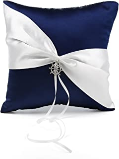 KateMelon Wedding Accessories Nautical Anchor Charm Ring Bearer Pillow 7.8 Inch x 7.8 Inch - Navy Blue