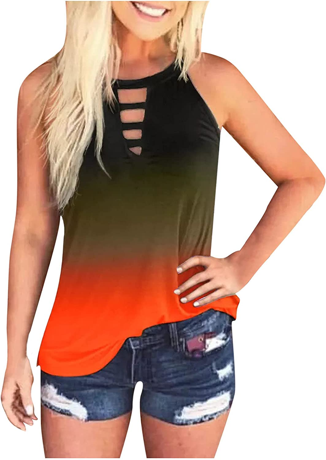 AODONG Womens Tank Tops,Womens Summer Casual Workout Sleeveless Loose Fit Tank Tops Shirts Blouses Tunics Vest