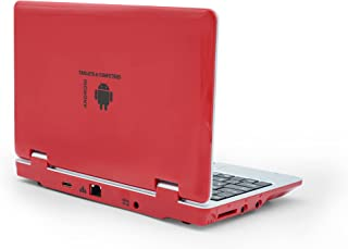 """Portable Laptop Computer, 7"""" Inch Mini Laptop Computer Powered by Android 5.1, Quad Core, 8gb ROM, HDMI, WiFi- Red"""