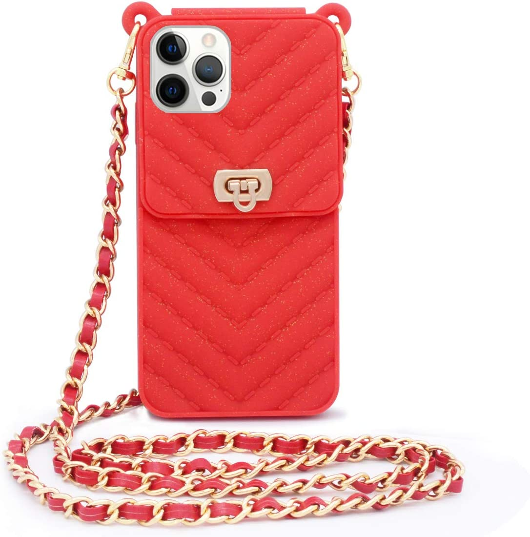 LUVI Compatible with iPhone 12 Pro Max Wallet Case with Crossbody Strap Lanyard Neck Strap Credit Card Holder with Purse Handbag Shoulder Strap Silicone Rubber Soft Protection Cover Red